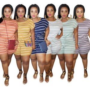 Black White Striped Print Short Rompers for Women Round Neck Short Sleeve Plus Size Jumpsuit Summer High Waist Drawstring Outfits