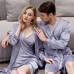 Autumn Pajamas For Couple Pyjamas Silk Bridesmaid Robes Dressing Gown Ladies Sling Nightdress Nightgown Women And Men Sleepwear