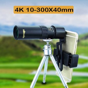 4K 10-300X40mm Super Telepo Zoom Monocular Telescope With Tripod & Clip Light Night Vision Supports Smartphone Portable
