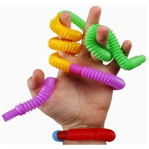 DIY POP TUBE FIDGET TWIST Sensory 장난감 플라스틱 텔레스코픽 벨로우즈 압축 해제 장난감 파티 호의 짜임새를 뿜어내는 아동