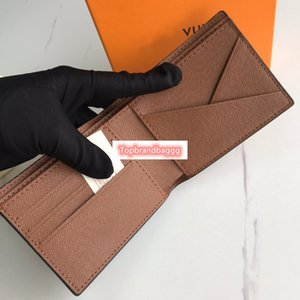 New For Brown Women men real Genuine leather Purses Short Wallets With Box CX#311 dust Bags 60895