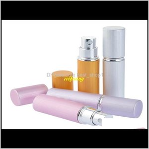 100Pcslot Fast 5Ml Groove Surface Aluminum Refillable Perfume Bottle Atomizer Spray Tube Containers 4 Colors 1Rhbz Storage Bottles Jar Zdlrq