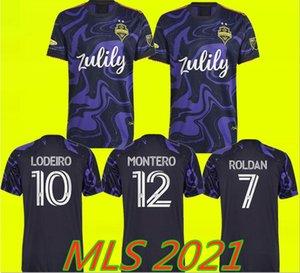MLS 2021 Seattle Sondeurs Soccer Jerseys Away Purple 21 22 Jimi Hendrix Kit Roldan Ruidíaz Lodeiro Montero Morris Camisetas De Football Chemises de football Maillots Pied