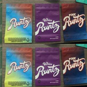 runtz mylar 가방 3.5g 핑크 화이트 레인보우 가방 캘리포니아 SF 쿠키 og 꽃 어린이 증명 냄새 주입 소매 패키지 바