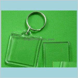 300Pcs Lot Transparent Blank Pvc Keychain Acrylic Pictures Pos Frame Key Chain Split Ring Keychain Gift Rahmen Keyrings Trcbl Nl0Mx