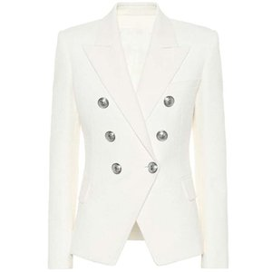 HIGH STREET Classic Designer Blazer Women's Double Breasted Metal Lion Silver Buttons Pique Jacket 210929