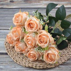 9 رؤساء الاصطناعي روز زهرة الخريف الحرير الورود باقة للمنزل الزفاف حفل زفاف مهرجان ديكور أبيض أزرق أورانج dha4358