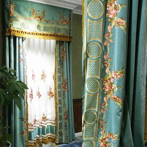 European French court Korean flannel taped embroidered curtain living room bedroom upscale villa high-rise window luxury curtain L0320