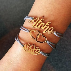 Luokey 3pcs / set catena corda doppia braccialetti di cuore set per le donne color oro color loto fiore boho gioielli gioielli fascino fascino Pulseras Mujer Link,
