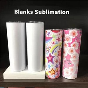 Straight!!! 20oz DIY Sublimation Skinny Tumbler Set Stainless Steel Insulated Travel Office Mug with Closed Lid Straw Slim Water Cup fy4275