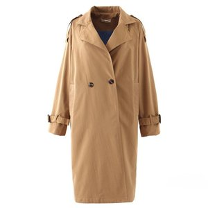 Women's Trench Coats OMIKRON Autumn Top Women Lady Casual Solid Color Double Breasted Outwear Sashes Office Coat Ruffle Design Long