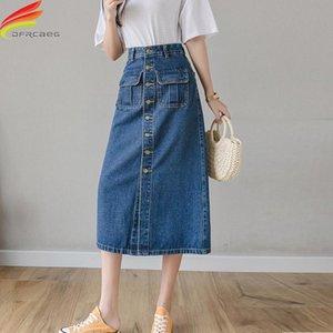 Skirts 2021 Summer Long Denim Skirt Women Single Button High Waist A Line Jeans Street Wear Blue Or Sky Jupe Jean Femme