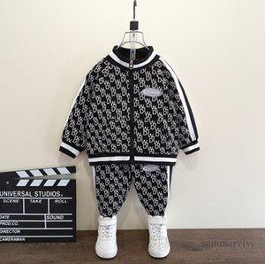 Designer children clothes sets boys stripe straps long sleeve zipper outwear+loose pants 2pcs autumn kids sports casual outfits Q2269