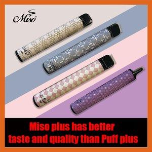 MISO Plus Tek Kullanımlık Vape Pen E Sigaralar 800 Puflar Başlangıç Kiti 550 mAh Pil Kalem 3.2ml Arabalar 80 Renkler Buharlaştırıcı Vapes Yükseltilmiş Barlar Boş
