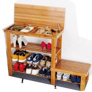 Bamboo Shoe Cabinet Flip Storage Can Sit Shoes Bench Simple Rack Garden Door Stool Clothing & Wardrobe