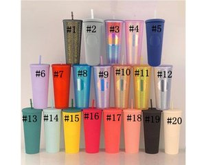 With Without LOGO 710ml 24oz Double Layer Durian StrawCup Mugs Plastic Coffee Cup Bright Diamond Goddess Star Sky Straw Cups