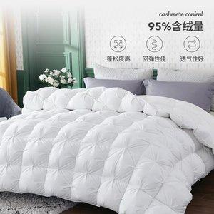 Qualidade Superior Ganso Branco Para Baixo Enchimento 3d Pão Edredon quilt consolador Cama Inverno Luxo Cobertores 100% Algodão Comforters &