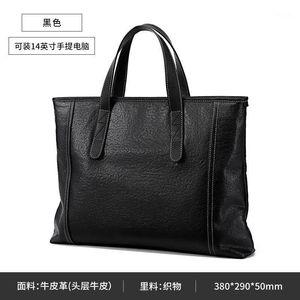 100% Genuine Leather Bag Men 14inch Leather Handbags Famous New Women Business Bags men's briefcase laptop bag LW01771