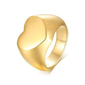 Heart Band Ring for Women Men Personalized Engagement Jewelry Gold Color Stainless Steel Rings Lover Marry Wedding Gift
