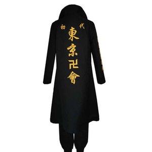 Anime Tokyo Revengers Sano Manjiro Cosplay Costume Unisex Manji Gang Mikey Jacket Cloak Pants Halloween Party Y0913