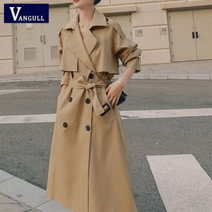 Vangull New Spring Autumn Long Women Trench Coat Casual Double Breasted Belt Khaki Loose Coat Office Lady Outerwear Fashion 14JX#