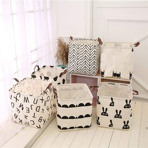 INS Print Foldable Storage Buckets Kids Toys Dirty Clothes Storages bag Washable Bucket box Home decoration Z4495