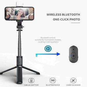 Selfie Monopods Drahtlose Bluetooth Stick Faltbare Mini Stativ Mit Füllen Licht Auslöser Fernbedienung Für IOS Android