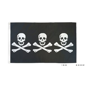 Three Pirate 3X5FT Black Flags Outdoor 150x90cm Banners 100D Polyester High Quality Vivid Color Two Brass Grommets FWD10507