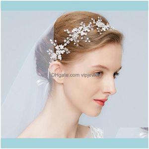 Jewelry Jewelryvintage Wedding Bridal Crystal Headband Ribbon Rhinestone Hair Band Aessories Crown Tiara Headpiece Beads Flower Headdress Wh