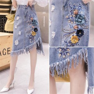 Skirts Fashion Denim Women's 2021 Embroidery Flower Cowboy Tasse Hole Irregular Sexy Skirt High Quality