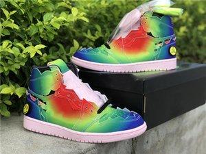 J Balvin X Jumpman 1 1 S Erkek Basketbol Ayakkabı Gülen Ortak Degrade Gökkuşağı Luxurys Tasarımcılar Sneakers Tam Boyutu 40-47.5