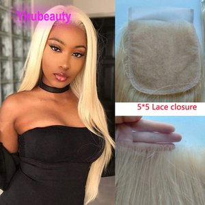 Peruvian 100% Human Hair 5X5 Lace Closure Baby Hair Silky Straight Blonde Color Top Closures Five By Five 12-24inch