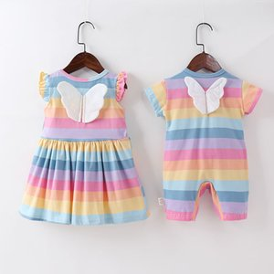 baby Clothing Girl Rainbow Striped Vest Dress Childrens Sweet Flying Sleeve Wings Dress baby clothes boy baby girl clothes