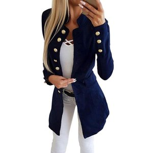 Women's Trench Coats Women Coat Solid Color Casual Slim Long Sleeves Buttons Jacket Suit Female Tops Clothes For Autumn Spring