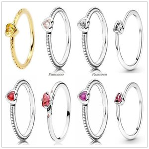 Cluster Rings Authentic 925 Sterling Silver Golden Shine One Love Golden-Red Synthetic Ring For Women Wedding Party Europe Jewelry