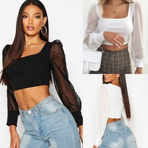 Women Sexy Solid Slim Shirt Solid Square-Neck Long Sleeve Blouse Womens Tops and Blouses