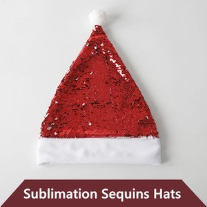 Sublimation Christmas Sequins Hats Blank Single Side Heat Transfer Santa Claus Decorations A12
