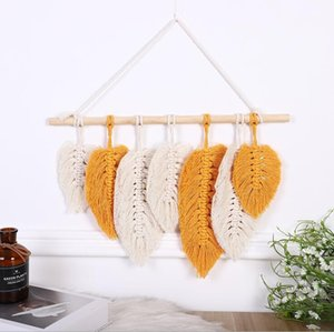 Dream Catcher Feather Decor Hanging Handmade Tapestry Boho Chic Modern Geometric Woven Art Wall Pendant for Apartment Bedroom HWA8529