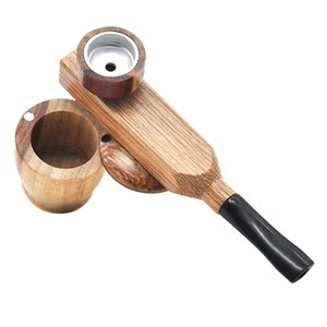 Mini Sandalwood Hand Pipe Metal Smoking Pipe Turning Smoking Pipes Portable Metal Pipe With Tobacco Storage Groove OOD5582