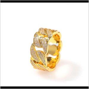 Full Set Of Cz Diamond Cuban Ring Popular Men And Women Jewelry Gold-Plated Fashion Couple Ring Mewpu M9Ciu