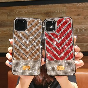 Luxury Design V Grid Rhinestone iPhone Cases Scratchproof Defender Cover For iP 12 11 Pro Xs Max Xr 8 7 6 Plus