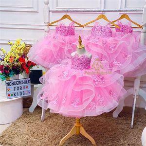 Kids Girls Princess Pink Evening Tutu Dresses Baby Girl Clothes Long Dress Birthday Party Vestido Wear 1-14Years