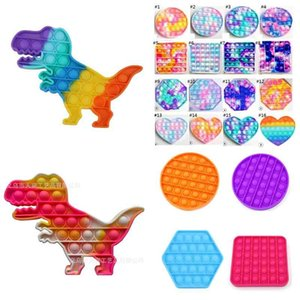 Pop Push Bubble Board Game Sensory simple Tiktok Decompression Toy Stress Reliever puzzle silicone toys finger pressing toy Rainbow Tie-dye color H32RH11