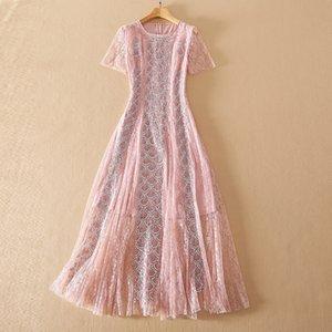 2021 Yaz Bir Çizgi Kısa Kollu Dantel Sequins Flora Baskı Elbise Balo Moda Boyun Ekibi Marka Aynı Stil Moda Kadın Giysileri Sh