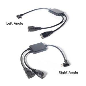 30 سنتيمتر 2 في 1 مايكرو USB 2.0 تمديد كابل الأيمن زاوية اليسار ذكر إلى أنثى شحن Y الفاصل السلطة موصلات كابلات الكمبيوتر 1ft