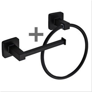 Square Bathroom Toilet Roll Holder & Towel Ring Set Stainless Steel Black Hanging Cost Rack With Screws Fittings Kit Rings