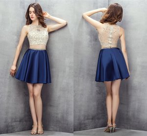 Beaded Crystal Satin Homecoming Dresses High Neck Short Prom Gowns Coktail Party Dress Two Pieces Dark Blue Sleeveless Sheer Back Zipper Sash Fashion 2021