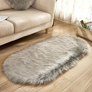Carpets Faux Fur Area Rugs Large Oval Artificial Sheepskin Long Hair Carpet Floor Wool Fluffy Soft Mat Bedroom For Living Room