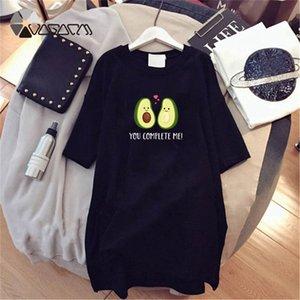 Propcm Moda Kadın Elbiseler Kawaii Tasarımcı Avokado Baskı Kısa Kollu Elbise Yaz Parti Vintage Tshirt Gevşek Artı Boyutu Kadın Giyim Siyah
