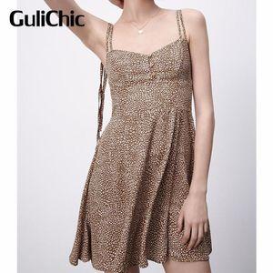 Casual Dresses 4.15 Summer Dress 2021 Leopard Print Mini Strap Women Sleeveless Backless Woman Sexy